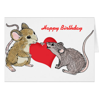 Tarjeta Dos ratones en cumpleaños del amor