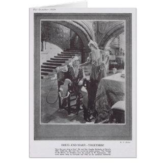 Tarjeta Douglas Fairbanks Mary Pickford que domestica a la