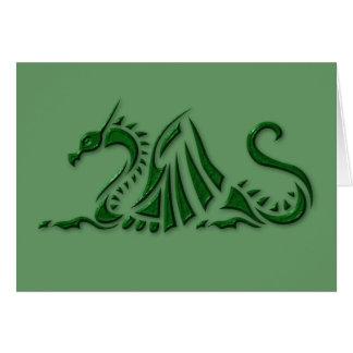 Tarjeta Dragón verde metálico