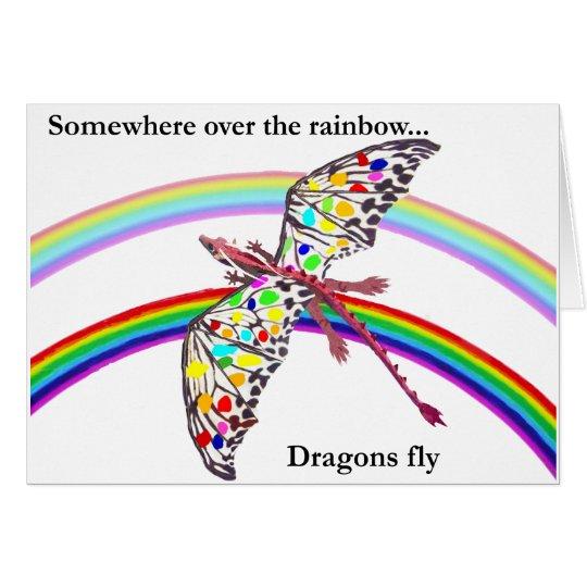 Tarjeta Dragón y arco iris