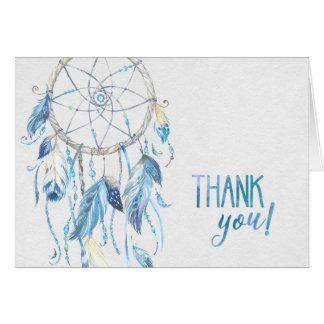 Tarjeta Dreamcatcher azul doblado le agradece