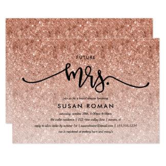 Tarjeta Ducha de señora Rose Gold Glitter Bridal de Futre