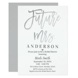Tarjeta Ducha futura de señora Silver Modern Script Bridal