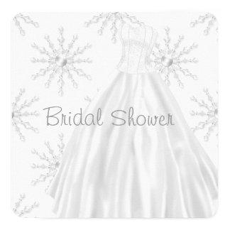 Tarjeta Ducha nupcial blanca del vestido de boda de los