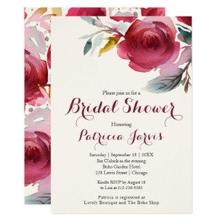 Tarjeta Ducha nupcial del boda floral de Borgoña Marsala
