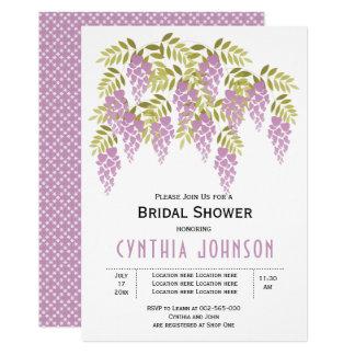 Tarjeta Ducha nupcial del boda floral púrpura de las