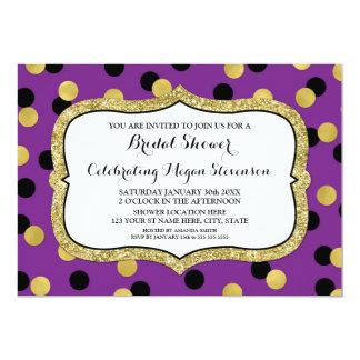 Tarjeta Ducha nupcial del confeti negro púrpura del oro