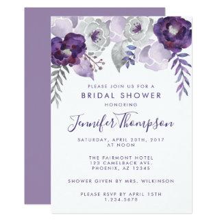 Tarjeta Ducha nupcial floral de la acuarela púrpura y de