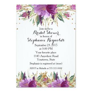 Tarjeta Ducha nupcial floral de la primavera Amethyst