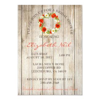 Tarjeta Ducha nupcial floral del fondo de madera rústico