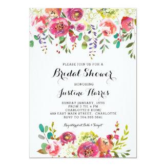 Tarjeta Ducha nupcial, flores rosadas