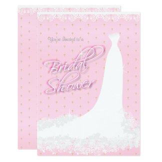 Tarjeta Ducha nupcial religiosa del satén rosado hermoso