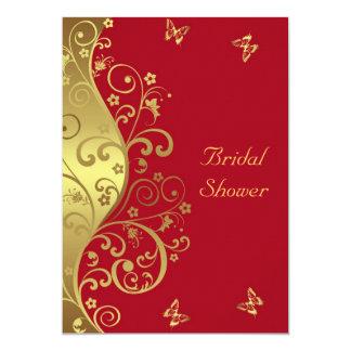 Tarjeta Ducha nupcial--Remolinos del oro y 5x7 rojo