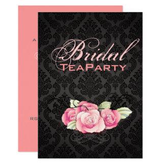 Tarjeta Ducha nupcial subió rosa negro gótico del damasco