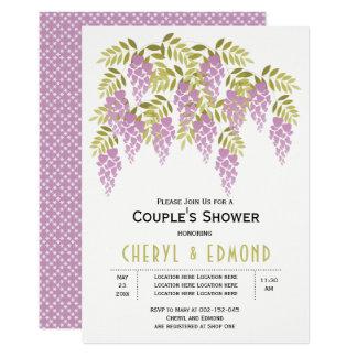 Tarjeta Ducha púrpura de los pares del boda de la