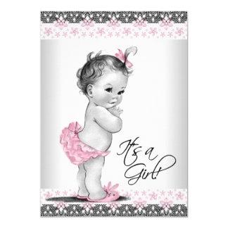 Tarjeta Ducha rosada y gris del vintage de la niña