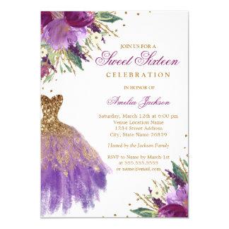Tarjeta Dulce Amethyst dieciséis del vestido del purpurina