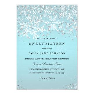 Tarjeta Dulce azul dieciséis copos de nieve del país de
