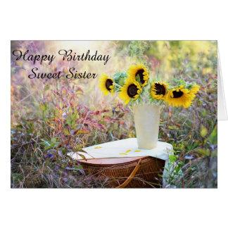 Tarjeta dulce del girasol de la hermana del feliz