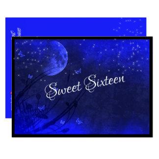 Tarjeta Dulce dieciséis, luna azul y estrellas,
