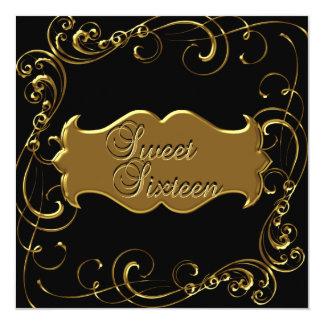 Tarjeta Dulce dieciséis oro negro elegante de 16