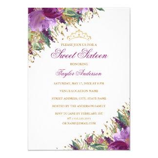 Tarjeta Dulce floral púrpura Amethyst dieciséis de la