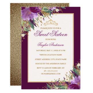 Tarjeta Dulce floral púrpura Amethyst dieciséis del