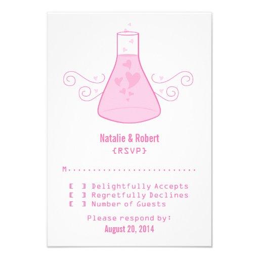 Tarjeta dulce rosada de la respuesta de la química comunicados personalizados