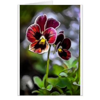 Tarjeta Dúo de la flor del pensamiento de Burdeos