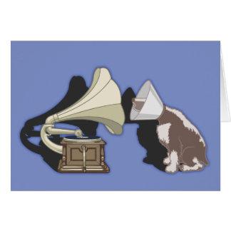 Tarjeta Dúo - perro y gramófono