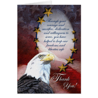 Tarjeta Eagle calvo patriótico le agradece cardar