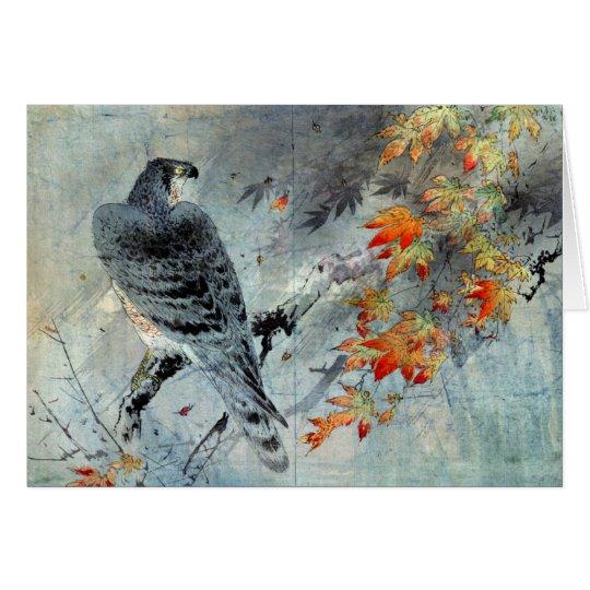 Tarjeta Eagle en una rama del arce, impresión de Woodblock