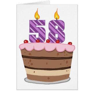 Tarjeta Edad 58 en la torta de cumpleaños