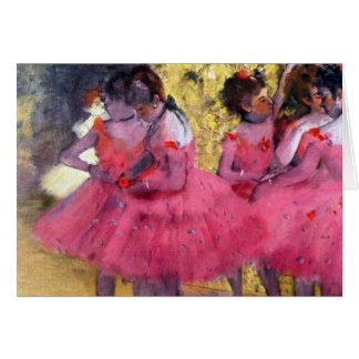 Tarjeta Edgar Degas - bailarines en rosa entre las escenas