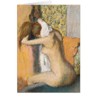 Tarjeta Edgar Degas el   después del baño, cuello de