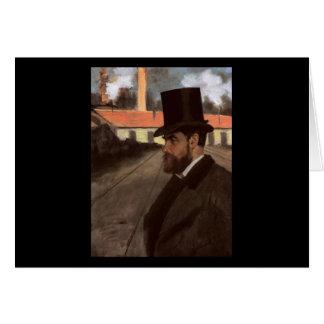 Tarjeta Edgar Degas Enrique Rouart delante de su fábrica