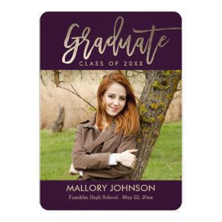 Tarjeta EDITABLE cepillada de la graduación del Invitación 12,7 X 17,8 Cm