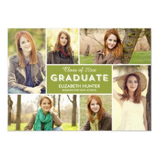 Tarjeta EDITABLE de la graduación del COLOR del Invitación 12,7 X 17,8 Cm