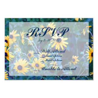 Tarjeta Editable de RSVP de la flor amarilla Invitación 8,9 X 12,7 Cm