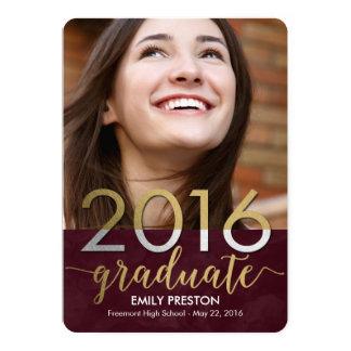 Tarjeta Editable fuerte brillante de la graduación Invitación 12,7 X 17,8 Cm