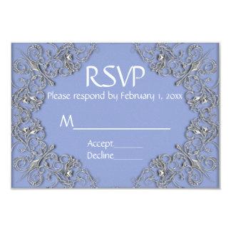 Tarjeta Efecto azul y metalizado elegante que casa RSVP