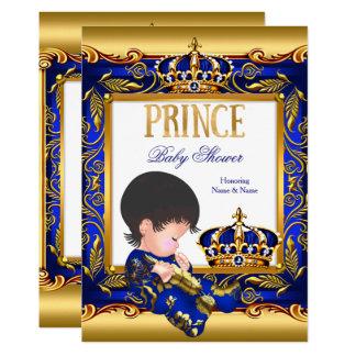 Tarjeta Efecto metalizado de oro azul del príncipe fiesta