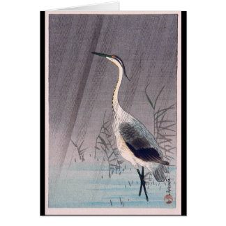 Tarjeta Egret en lluvia de Seitei Watanabe 1851 - 1918