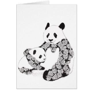 Tarjeta Ejemplo de la panda de la madre y del bebé