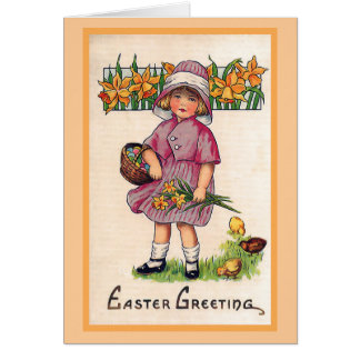Tarjeta Ejemplo de Pascua del vintage de los saludos de