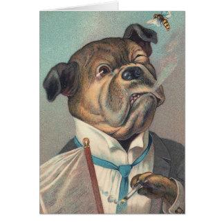 Tarjeta Ejemplo del vintage del perro y de la avispa