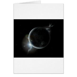 Tarjeta ejemplo negro del planeta 3d en el universo
