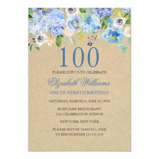 Tarjeta El 100o cumpleaños de la acuarela floral azul