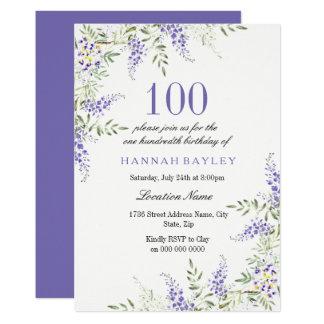 Tarjeta El 100o cumpleaños de la lavanda púrpura elegante