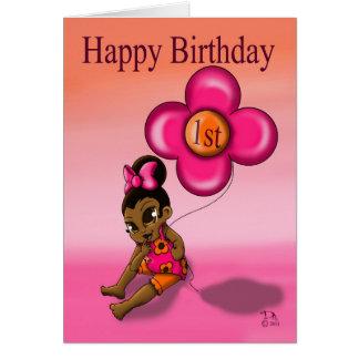 Tarjeta El 1r cumpleaños de la niña